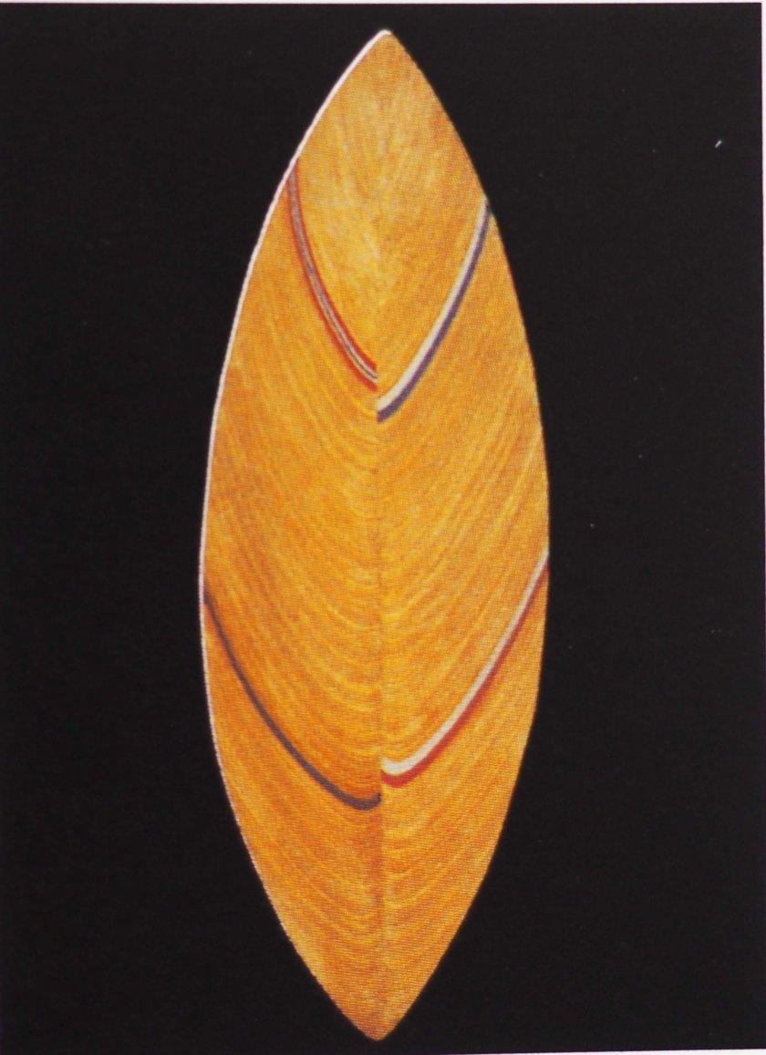 Plato hoja. Abedul laminado. Emblema diseño escandinavo.1954.